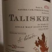 タリスカー 20年 シェリーカスク 1981 2002 62度